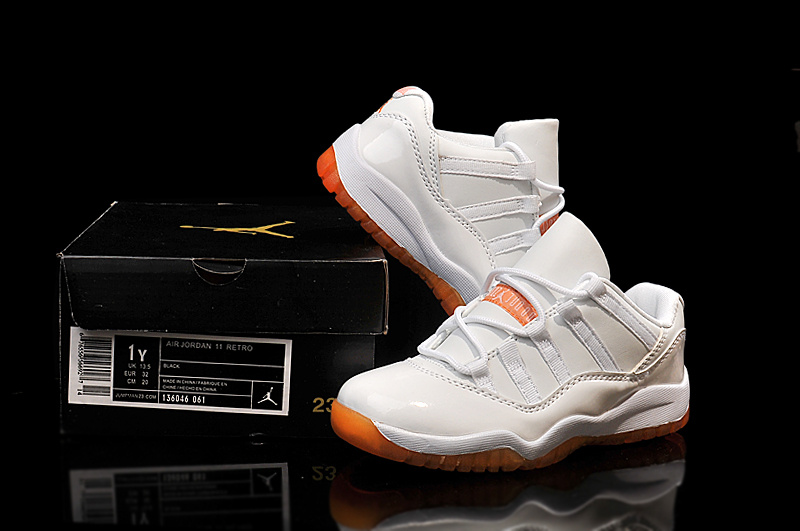 2015 Air Jordan 11 Low Shoes Cirtus White Orange For Kids