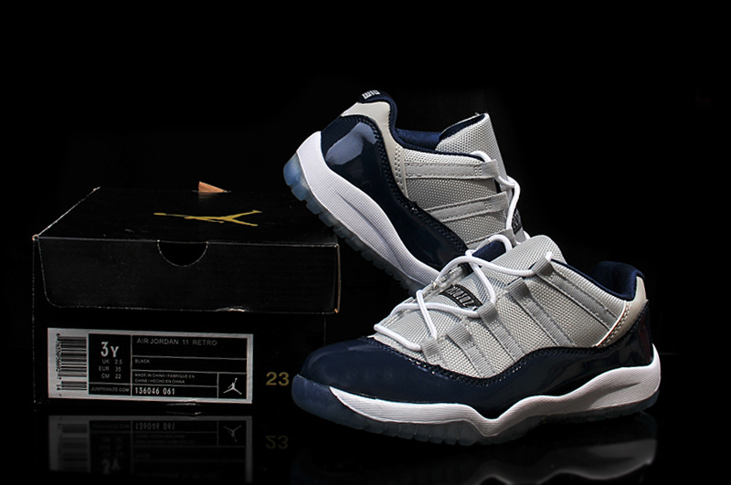 2015 Air Jordan 11 Low Shoes Grey Blue For Kids
