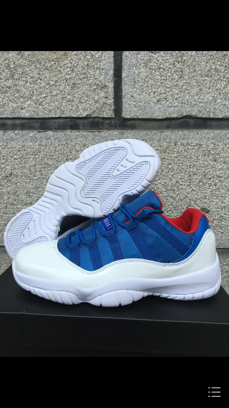 New Air Jordan 11 Retro 2016 Low White Blue Red Shoes