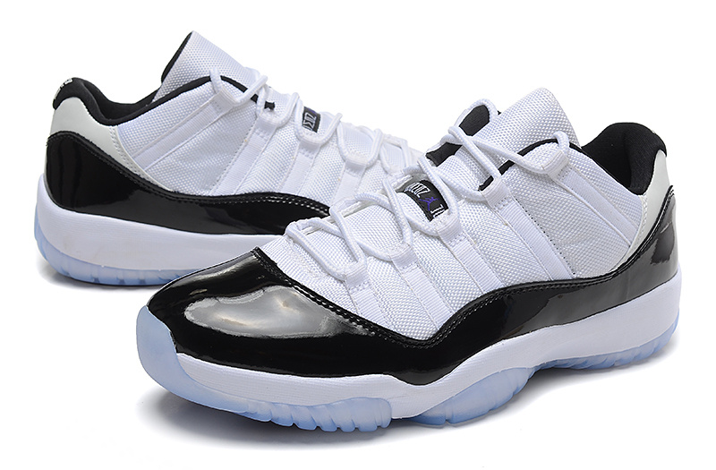 New Air Jordan 11 Retro Low White Black Blue Shoes