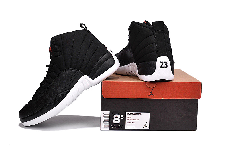 New Air Jordan 12 2016 Black Nylon Black White Shoes