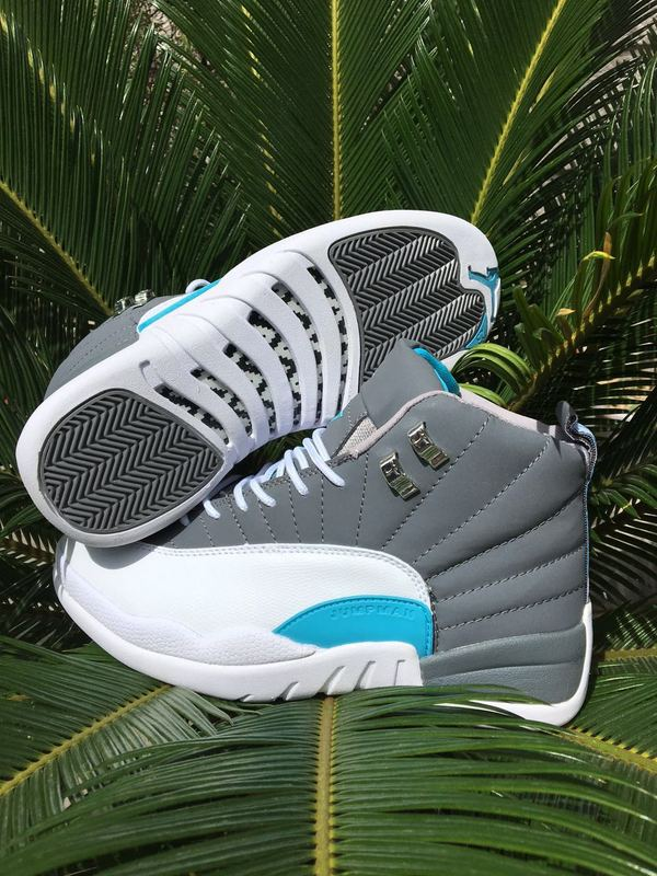 2016 Air Jordan 12 Grey White Blue Shoes