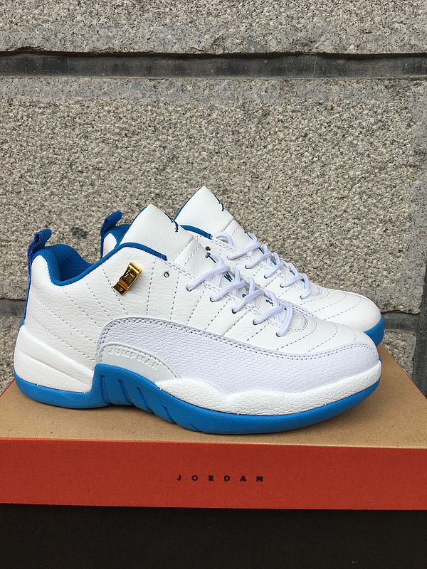 New Air Jordan 12 North Carnolia 2016 Women White Blue Shoes