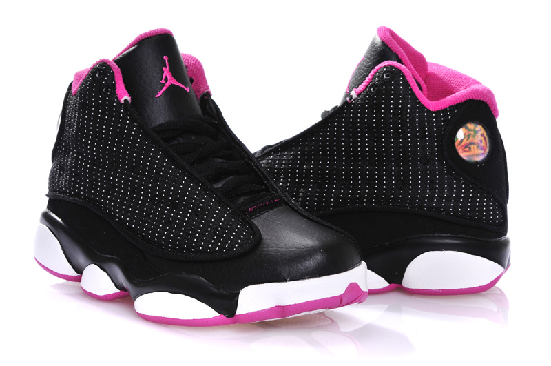 2015 New Jordan 13 All Black White Pink For Kids