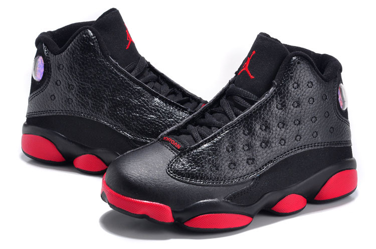 2015 New Jordan 13 Black Red For Kids