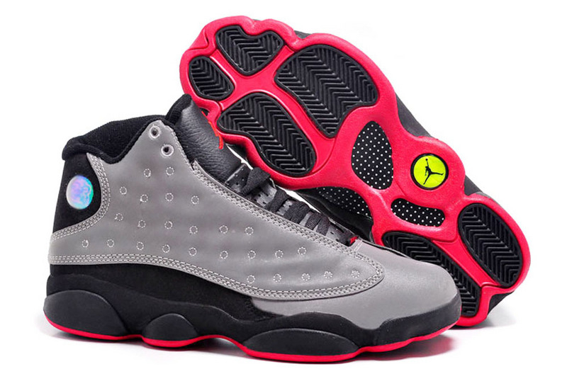 2015 New Jordan-13 Retro Grey Black Red Shoes
