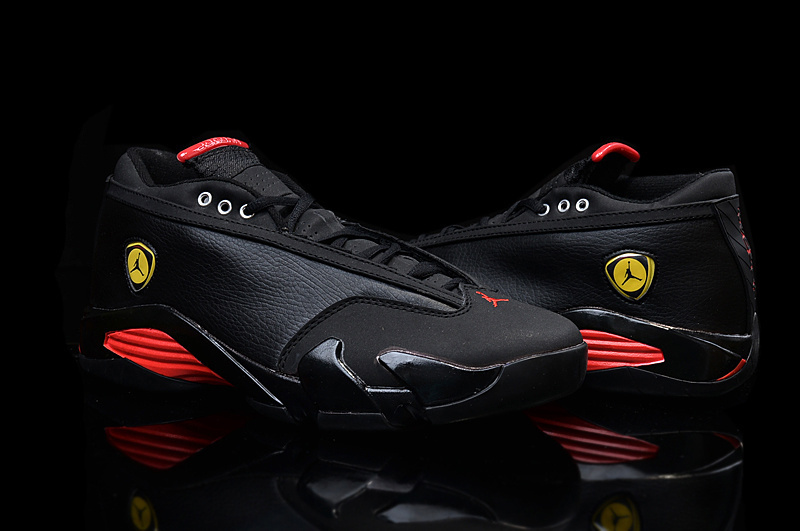 2015 Air Jordan 14 Low Shoes Black Red Yellow For Women