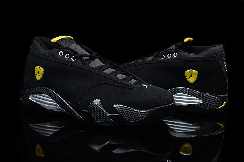 2015 Air Jordan 14 Low Shoes Black Yellow For Women