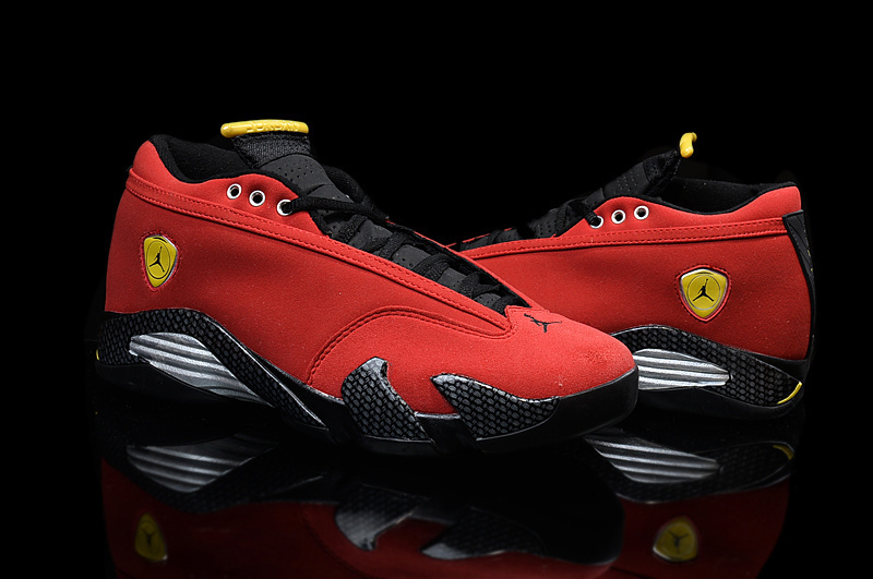 2015 Air Jordan 14 Low Shoes Red Black Yellow For Women