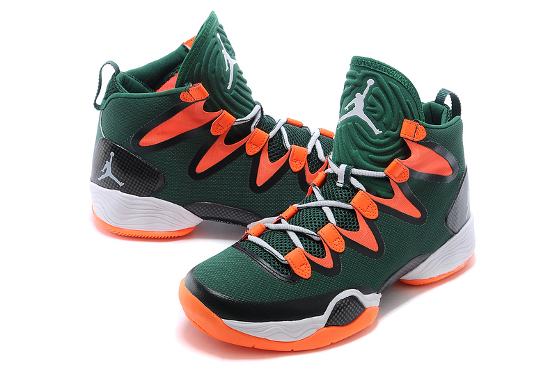 2015 Air Jordan 28 Green Orange White Shoes