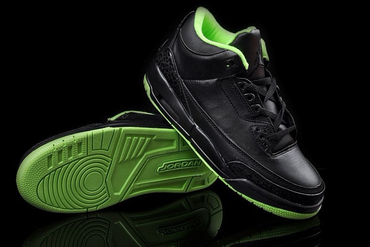New Air Jordan 3 Black Green Shoes