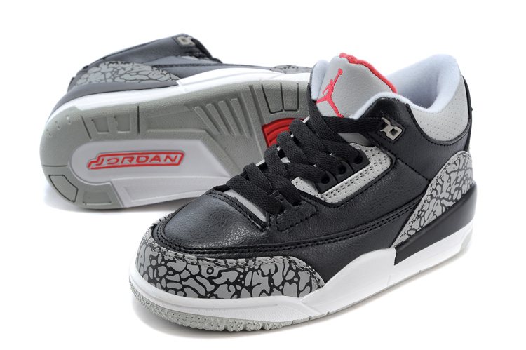 2015 New Jordan 3 Black Grey Cement For Kids