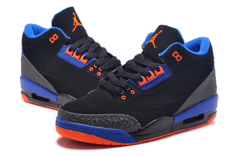 2015 New Jordan 3 Black Orange Blue For Women