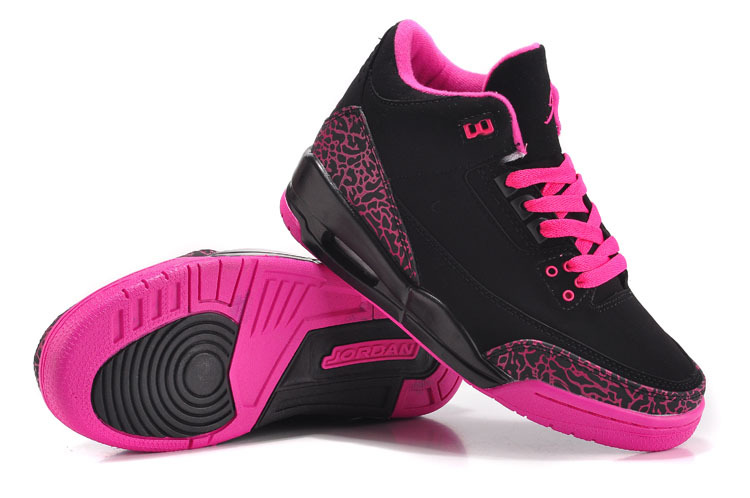 2015 New Jordan 3 Black Pink Cement For Women