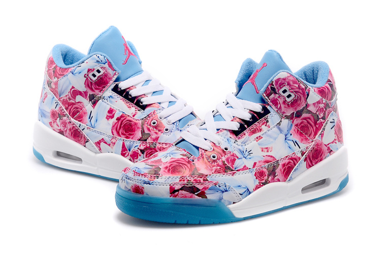 2015 Air Jordan 3 Shoes Red Bbaby Blue White For Women