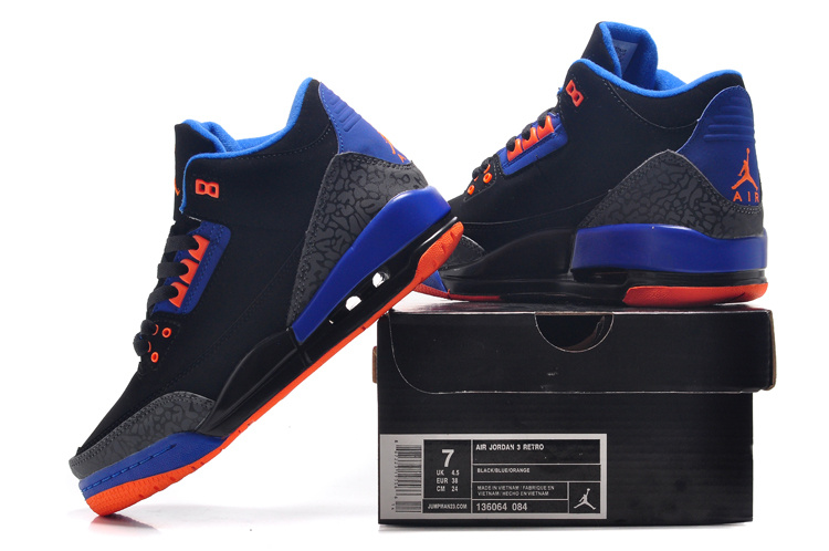 2015 New Jordan 3 Black Blue Orange For Women