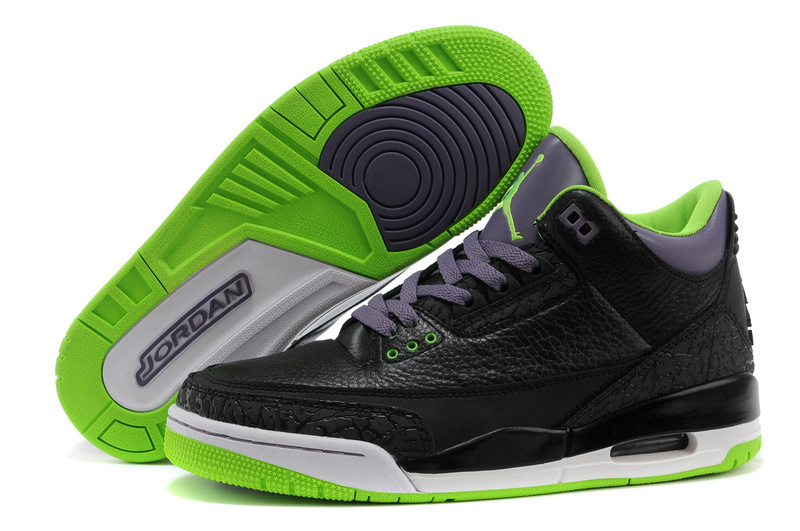 2015 Air Jordan 3 Retro Black Purple Green Shoes