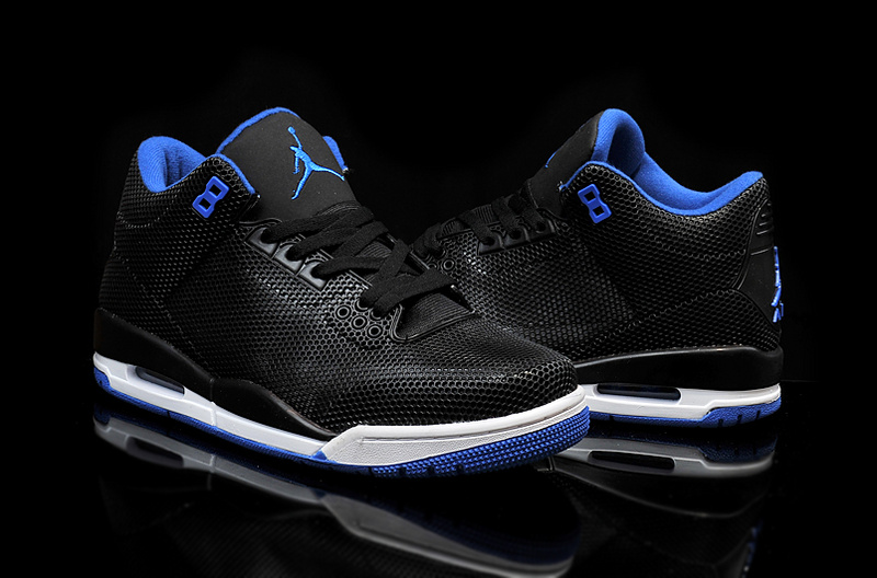2015 Air Jordan 3 Retro PVC Black Blue White Shoes