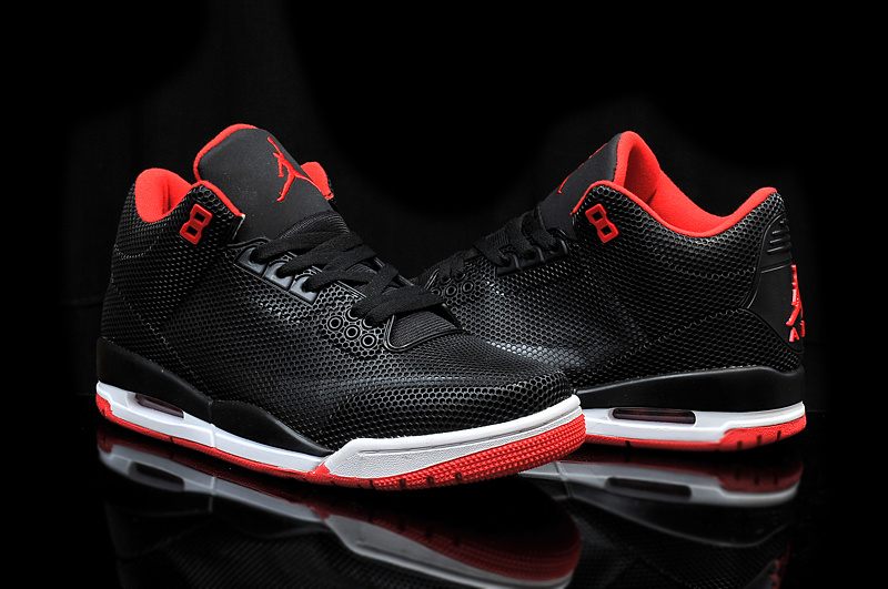 2015 Air Jordan 3 Retro PVC Black Red White Shoes