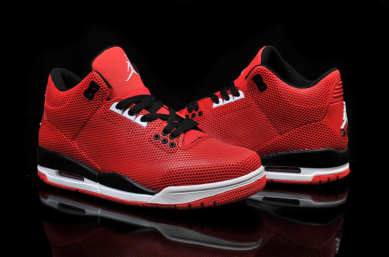 2015 Air Jordan 3 Retro PVC Red Black White Shoes