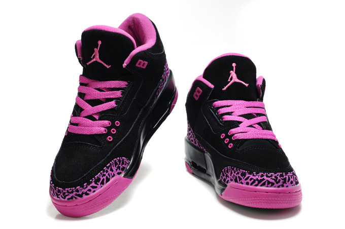 2015 New Jordan 3 Suede Black Pink Cement Shoes For Women
