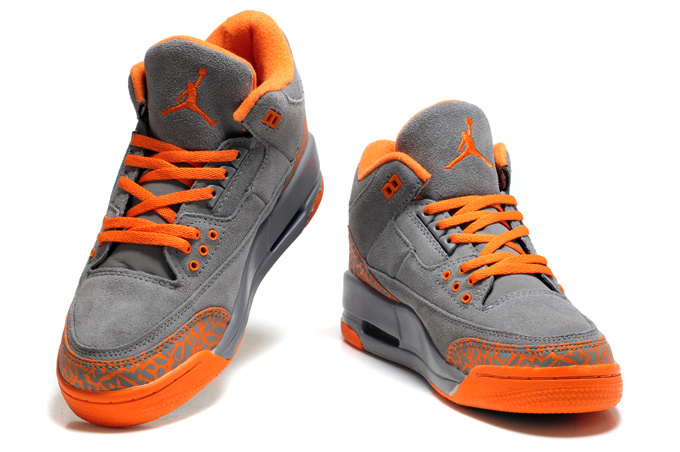 2015 New Jordan 3 Suede Grey Orange Cement For Women