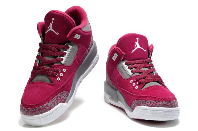 2015 New Jordan 3 Suede Red Grey Cement For Women