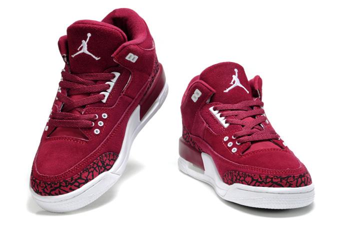 2015 New Jordan 3 Suede Wine Red Black Cemen For Women