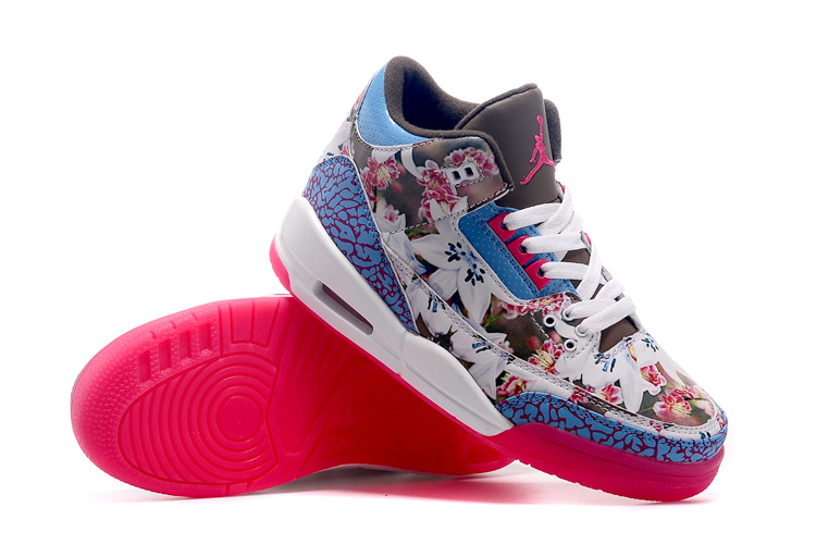 2015 Air Jordan 3 ShoesWhite Blue Red For Women