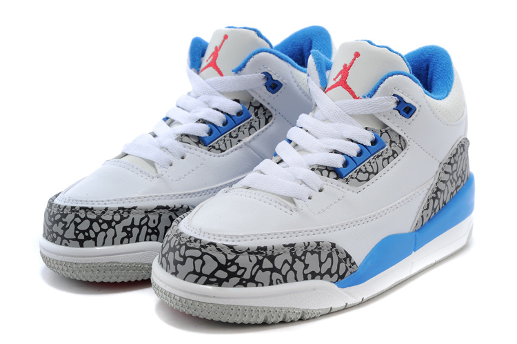 2015 New Jordan 3 White Grey Cement Baby Blue For Kids