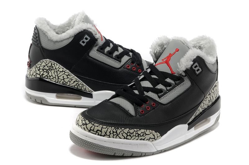 Air Jordan 3 Black Grey Cement Wool Shoes