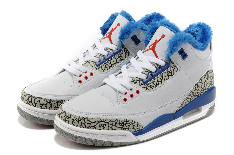 Air Jordan 3 White Blue Grey Cement Wool Shoes