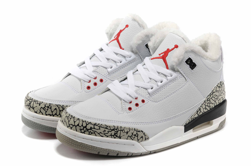 Air Jordan 3 White Grey Cement Wool Shoes
