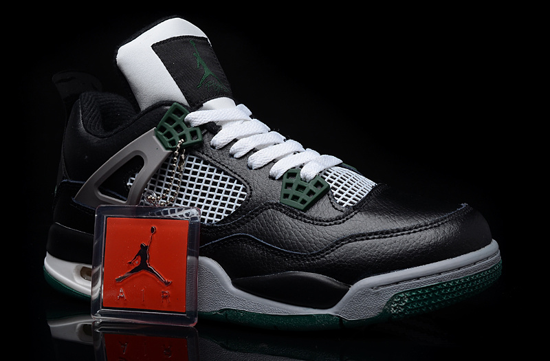 New Jordan 4 Black Green Shoes
