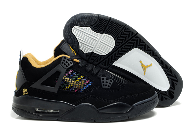 2012 Air Jordan 4 Black Yellow Shoes