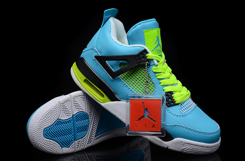 New Jordan 4 Blue Green White Shoes
