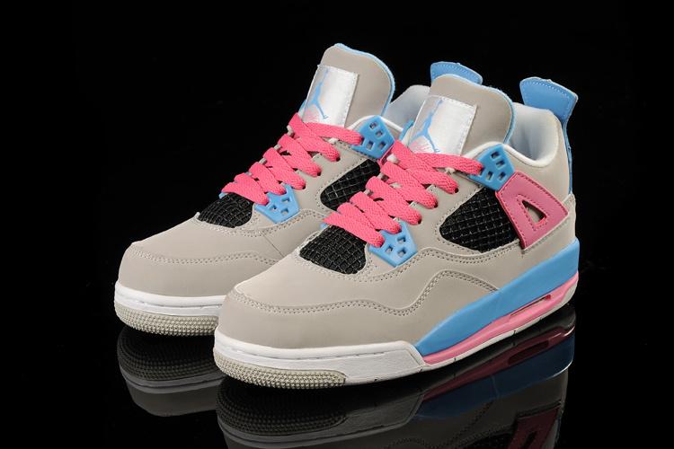 2015 New Jordan 4 Grey Pink Blue For Women