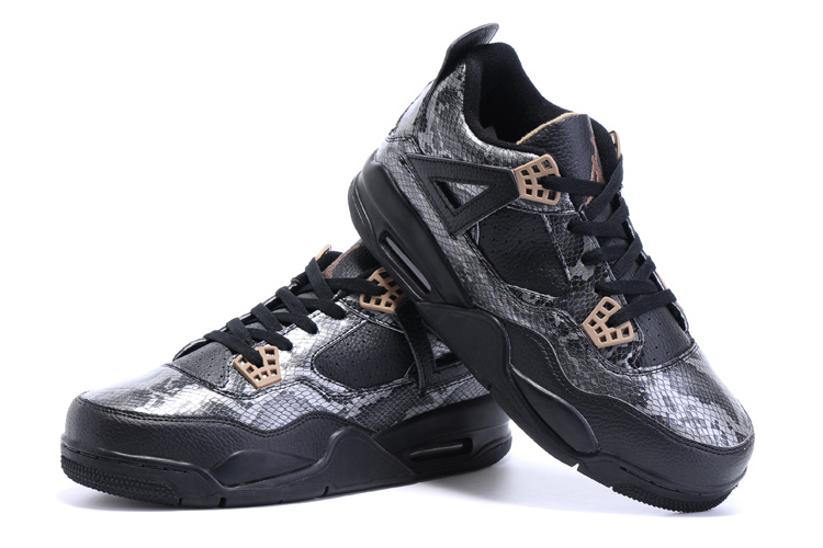 2015 Air Jordan 4 Snakeskin Black Shoes