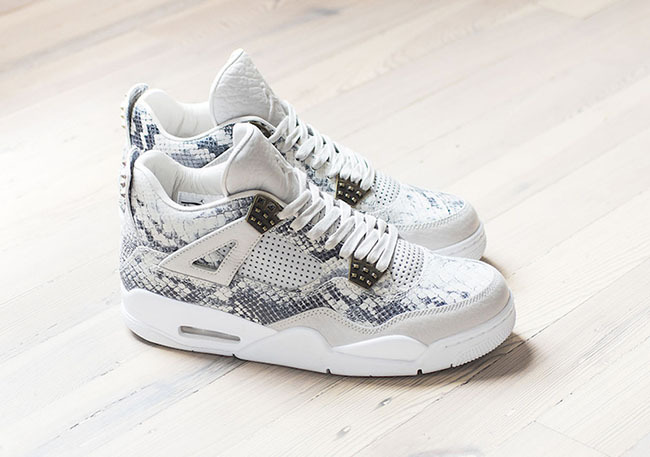 2016 Air Jordan 4 Snakeskin White Grey Shoes
