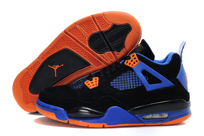 Top Quality Air Jordan 4 Suede Black Blue Orange Lin Edition