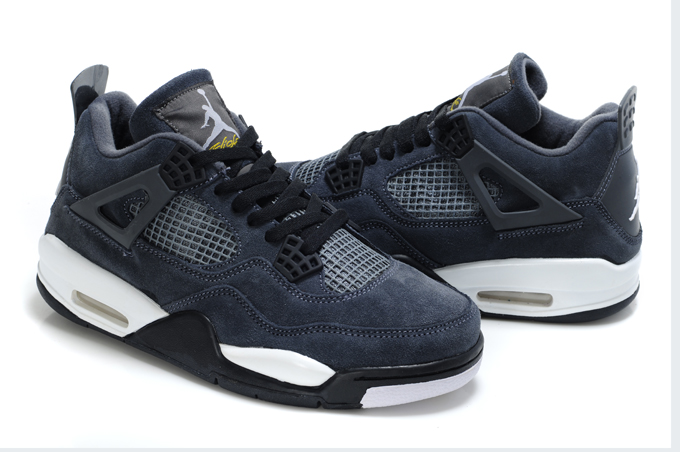 Top Quality Air Jordan 4 Suede Blue Black White