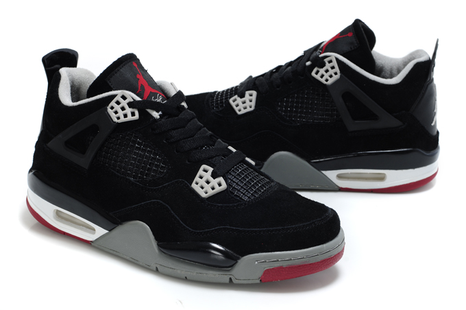 Top Quality Air Jordan 4 Suede Dark Black Grey White Red