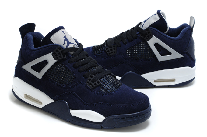 Top Quality Air Jordan 4 Suede Dark Blue White Black