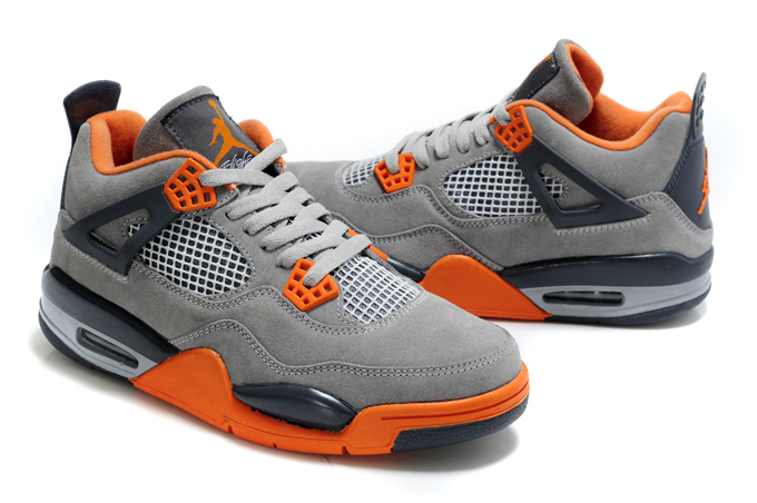 Top Quality Air Jordan 4 Suede Grey Black Orange
