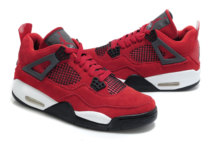 Top Quality Air Jordan 4 Suede Red White Black Bulls Edition