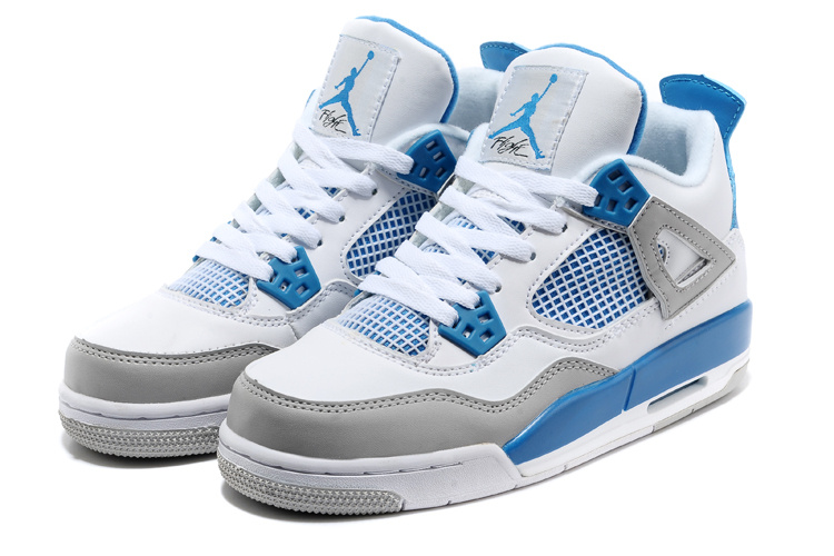 2015 New Jordan 4 White Blue Grey For Women