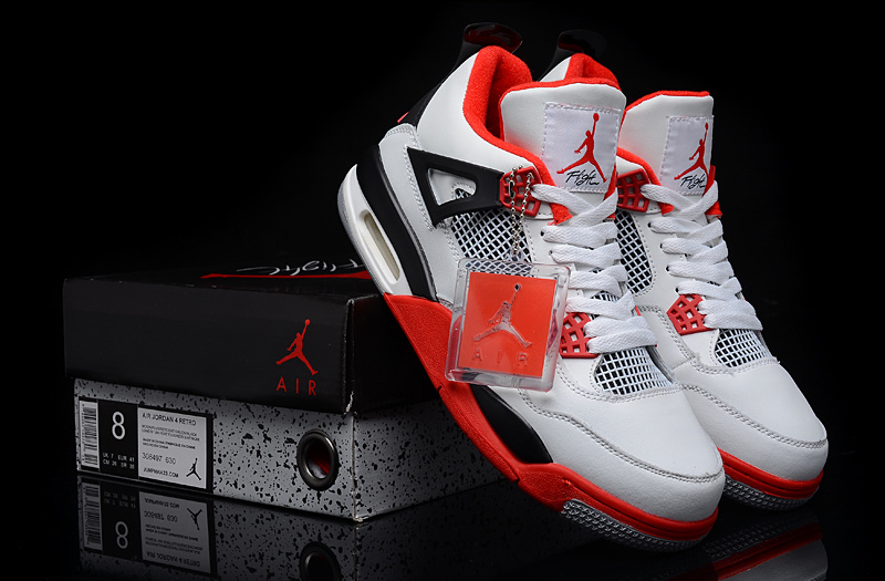 New Jordan 4 White Red Black Shoes