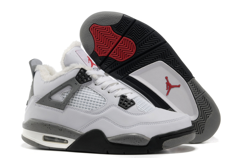 Wool Air Jordan 4 White Grey Black Shoes