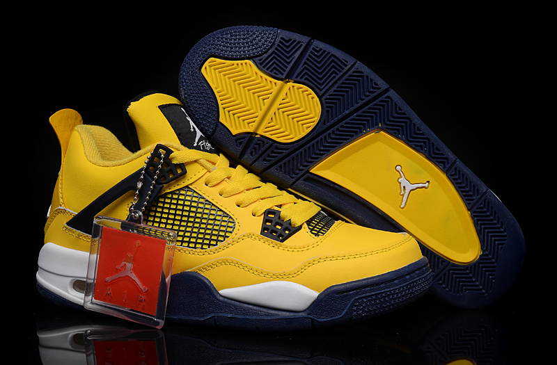 New Jordan 4 Yellow Black White Shoes