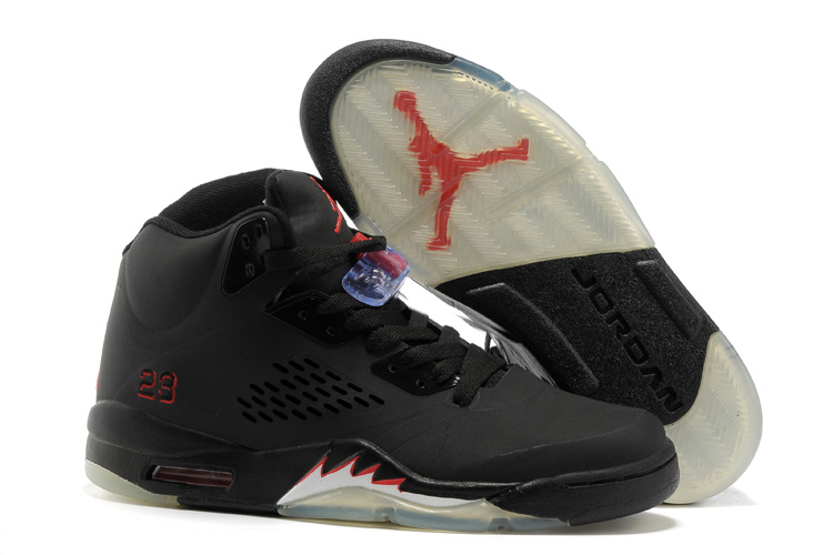Air Jordan 5 All Black Silver Shoes